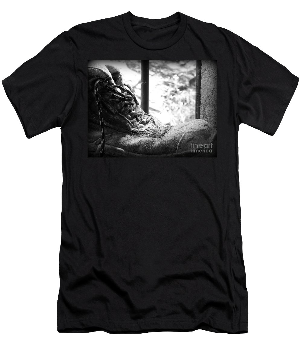 Boots Men's T-Shirt (Athletic Fit) featuring the photograph Old Boots by Clare Bevan