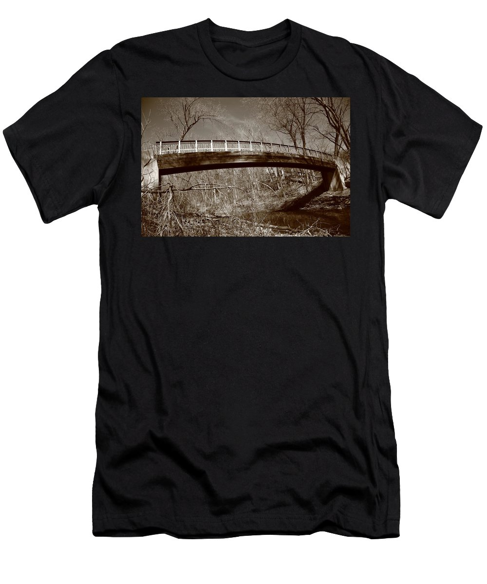 America Men's T-Shirt (Athletic Fit) featuring the photograph Old Bridge In Autumn by Frank Romeo