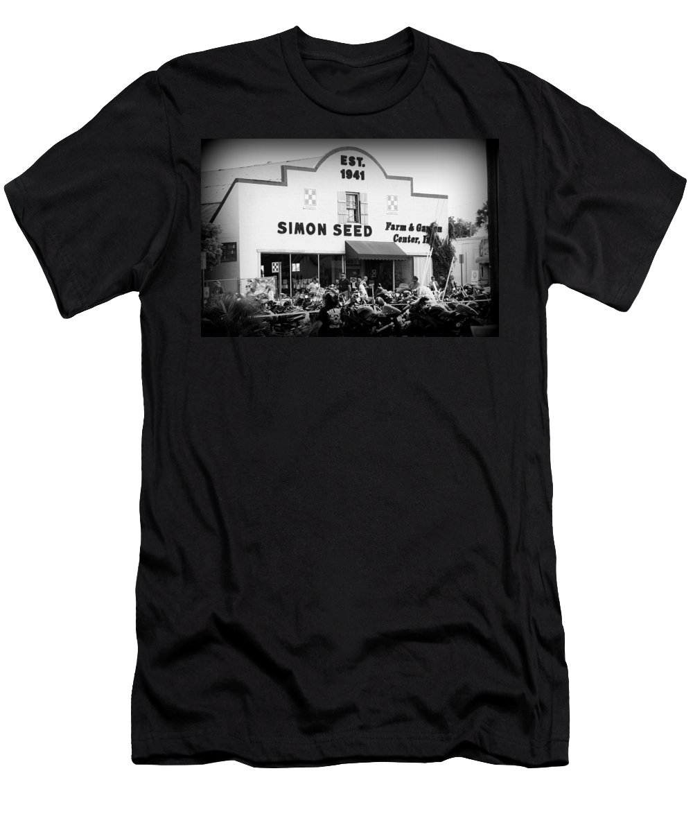 Ride Men's T-Shirt (Athletic Fit) featuring the photograph Old Building New Bikers by Laurie Perry