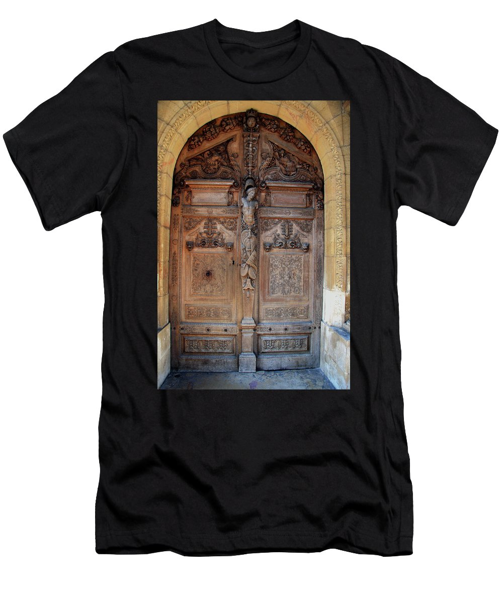 Door Men's T-Shirt (Athletic Fit) featuring the photograph Old Carved Church Door by Christiane Schulze Art And Photography