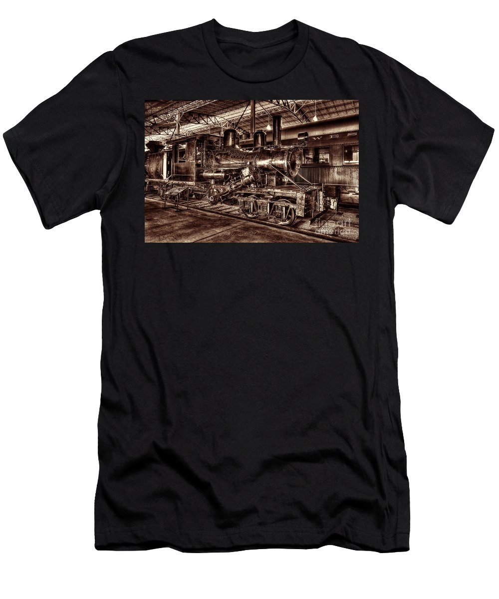 Climax Steam Engine Men's T-Shirt (Athletic Fit) featuring the photograph Old Climax Engine No 4 by Paul W Faust - Impressions of Light