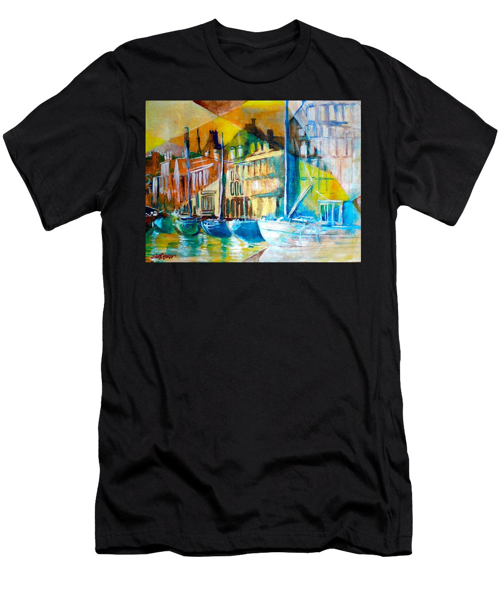 Old World Street Men's T-Shirt (Athletic Fit) featuring the painting Old Copenhagen Thru Stained Glass by Seth Weaver