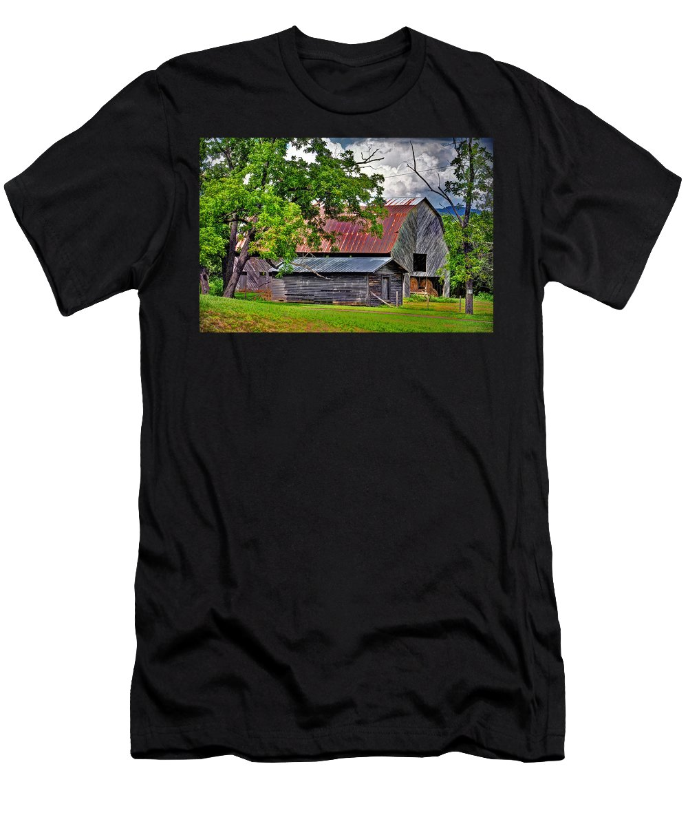 Old Country Barn Men's T-Shirt (Athletic Fit) featuring the photograph Old Country Barn by Savannah Gibbs