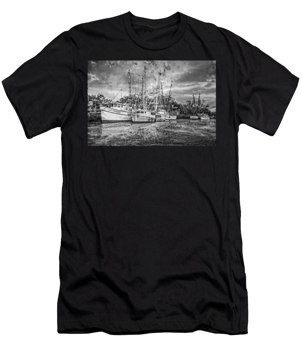 Boats Men's T-Shirt (Athletic Fit) featuring the photograph Old Fishing Boats by Debra and Dave Vanderlaan