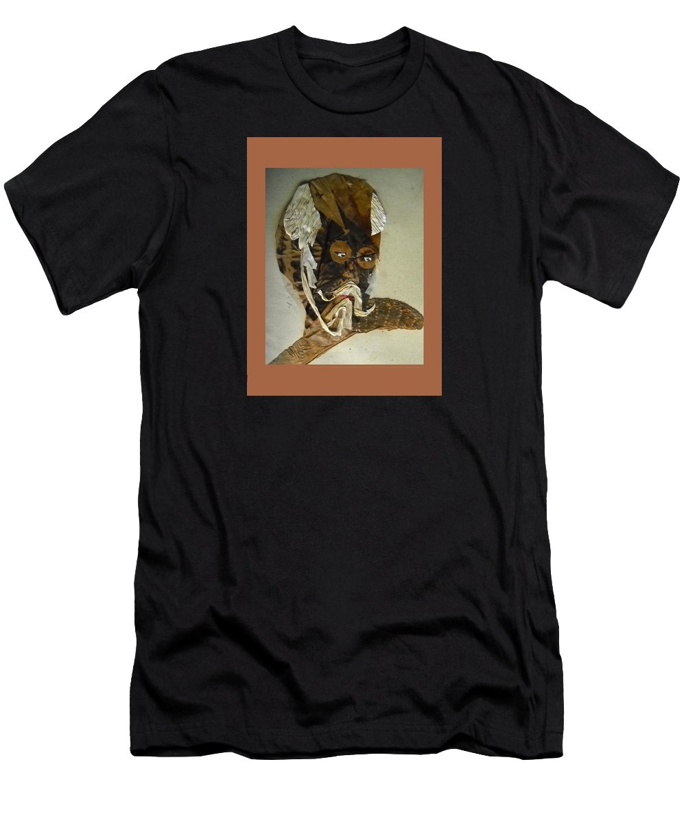 Portrait Men's T-Shirt (Athletic Fit) featuring the mixed media Old Man In Distress by Basant Soni