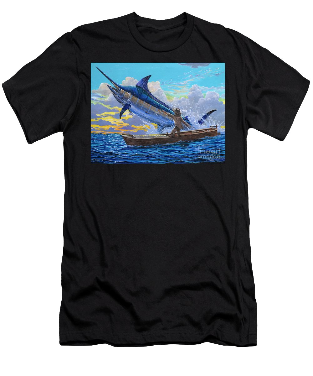 Marlin Men's T-Shirt (Athletic Fit) featuring the painting Old Man And The Sea Off00133 by Carey Chen