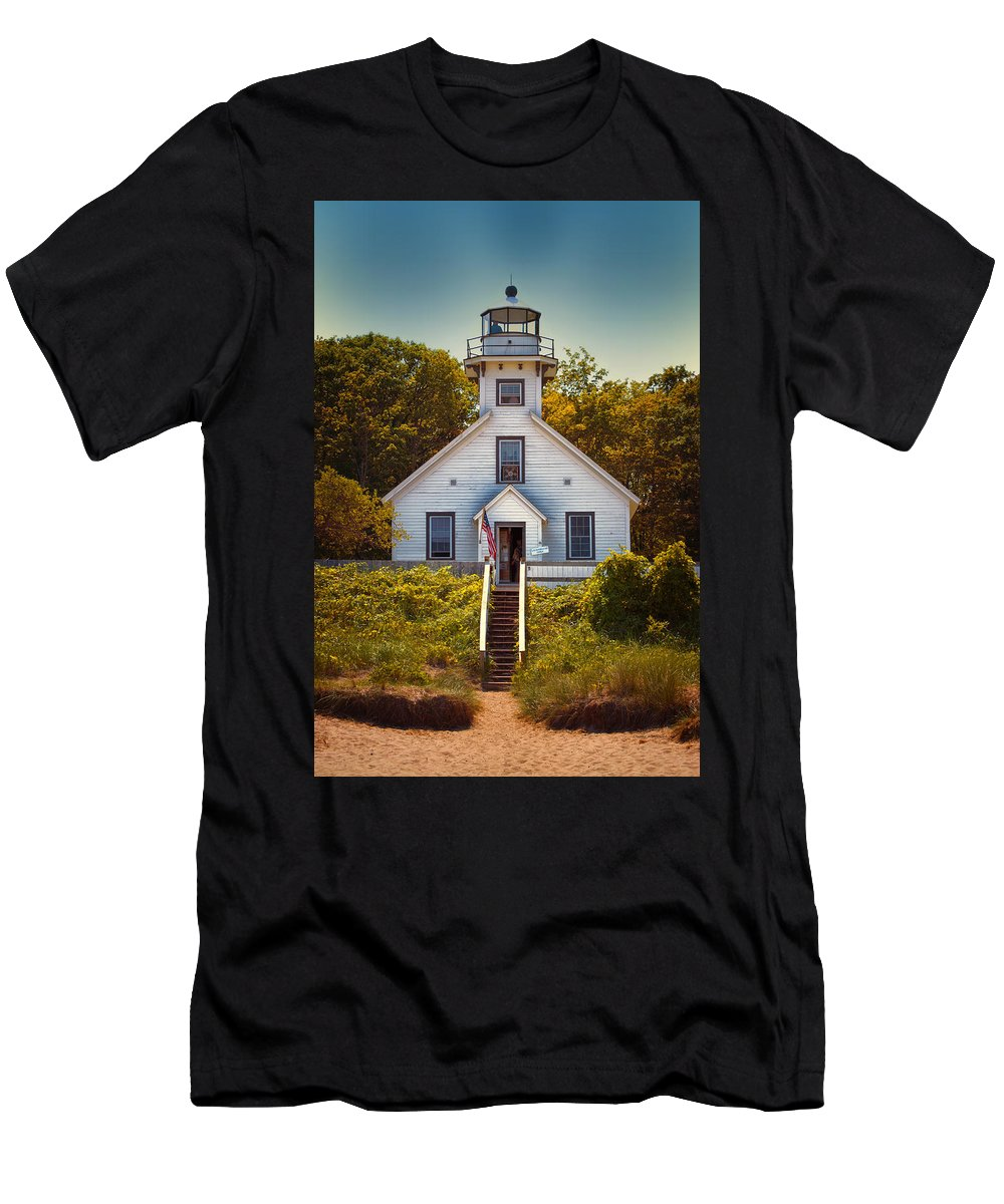 Michigan Men's T-Shirt (Athletic Fit) featuring the photograph Old Mission Point Light House 02 by Thomas Woolworth