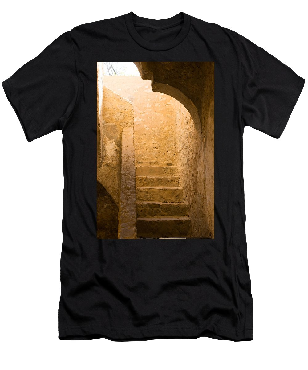 Texas Men's T-Shirt (Athletic Fit) featuring the photograph San Antonio Texas Concepcion Mission Stairs by JG Thompson