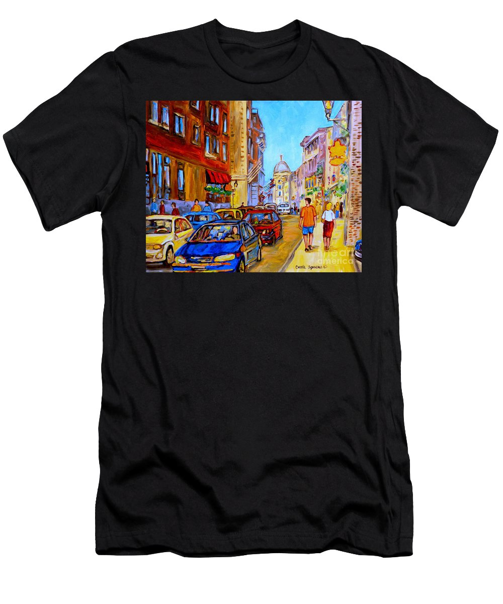 Old Montreal Street Scenes Men's T-Shirt (Athletic Fit) featuring the painting Old Montreal by Carole Spandau
