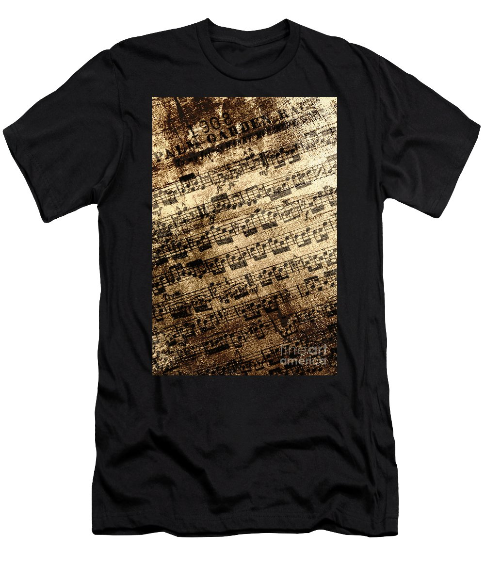 Background; Classical; Music; Sheet Music; Old; Fading; Still Life; Notes; Paper; Wallpaper; Nostalgia; Close Up; Grunge; Dirty; Song; Arrangement; Chords; Measures Men's T-Shirt (Athletic Fit) featuring the photograph Old Music by Margie Hurwich
