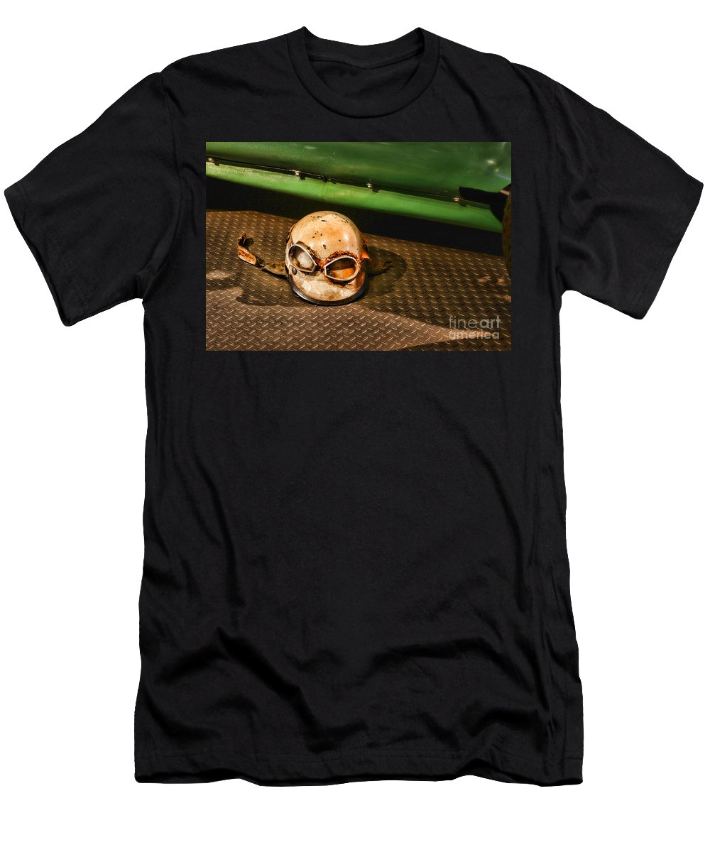 Paul Ward Men's T-Shirt (Athletic Fit) featuring the photograph Old Racing Helmet by Paul Ward
