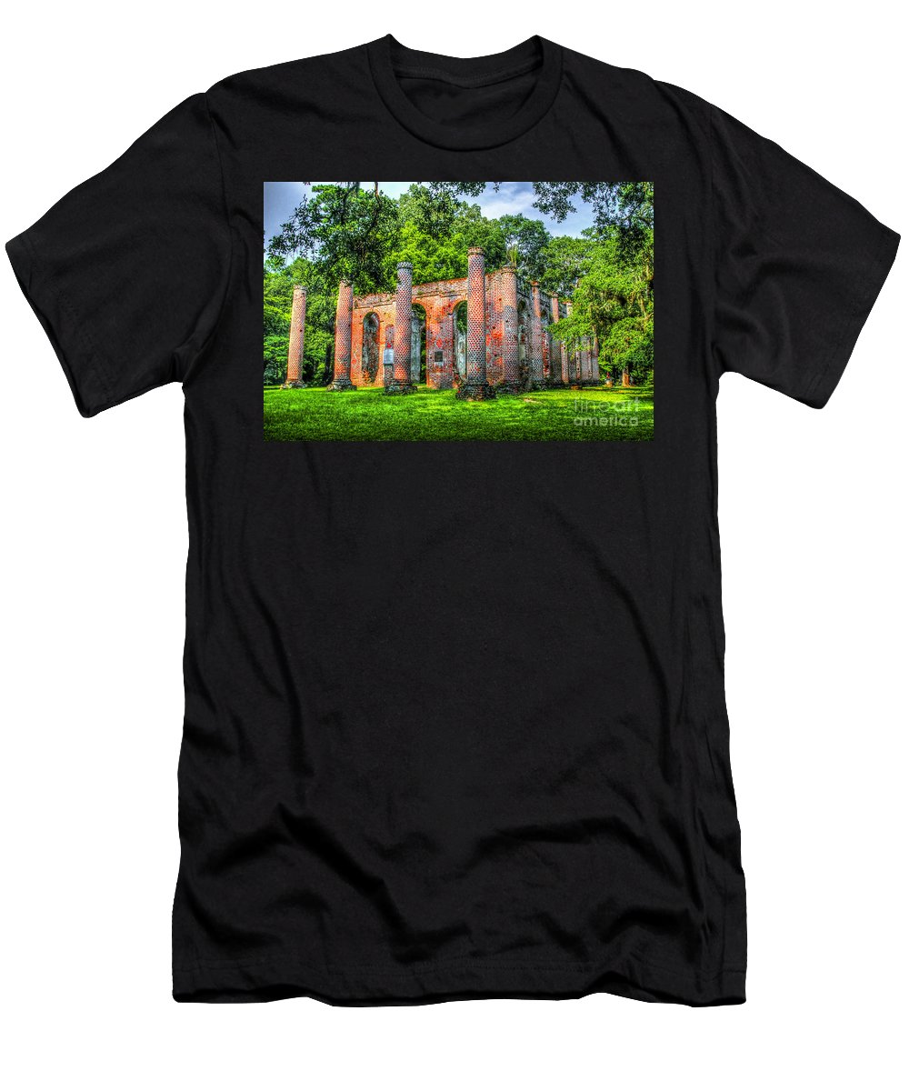 Old Sheldon Church Ruins Men's T-Shirt (Athletic Fit) featuring the photograph Old Sheldon Church Ruins by Dale Powell