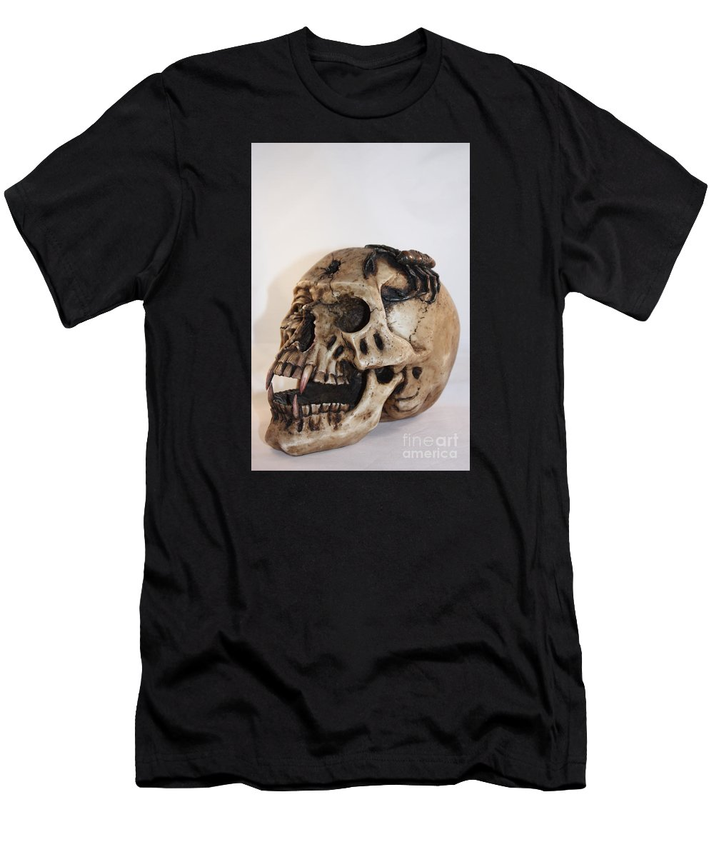 Skull Men's T-Shirt (Athletic Fit) featuring the photograph Old Skull With Scorpion On A White Background by Robert D Brozek