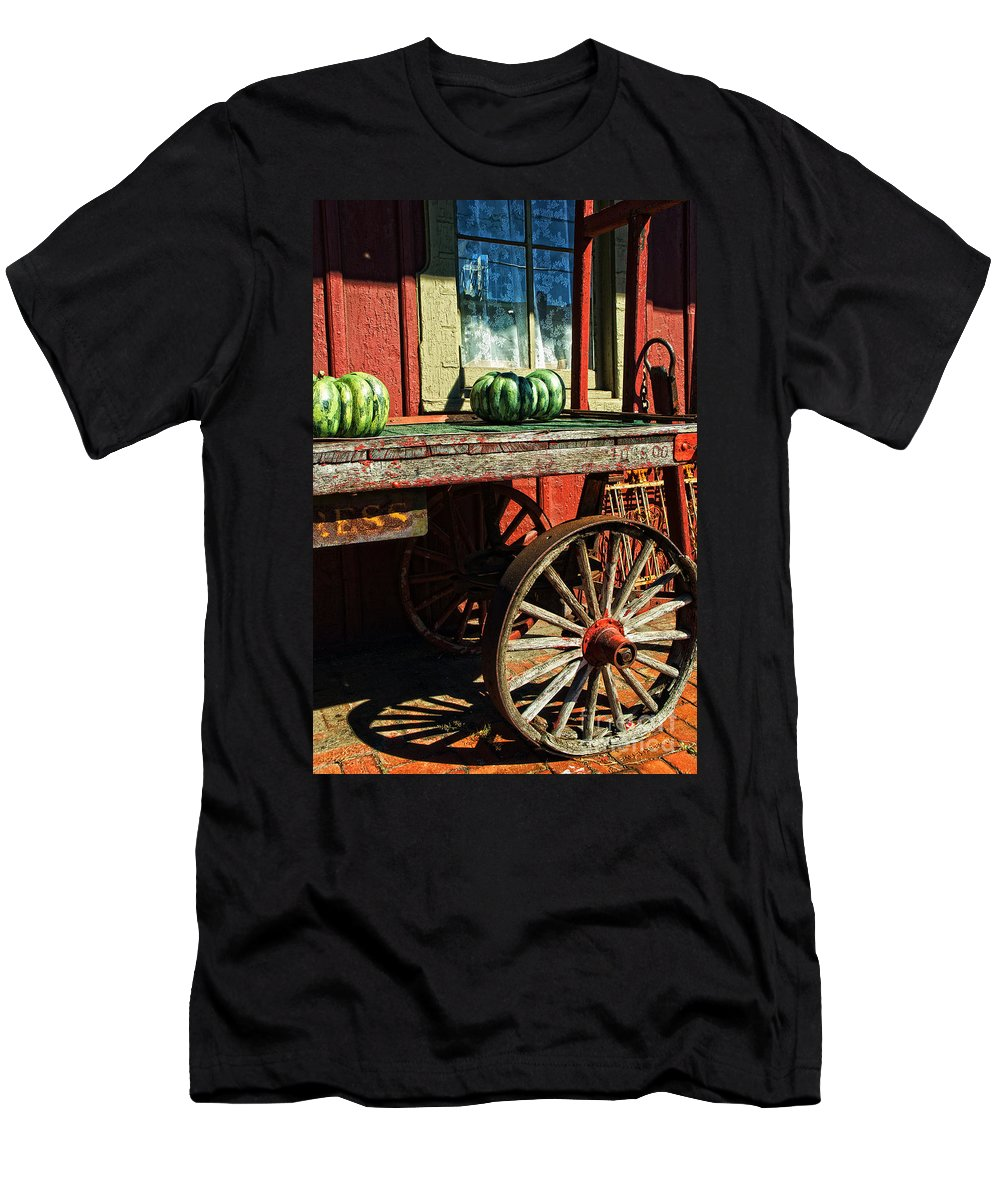 Railroad Men's T-Shirt (Athletic Fit) featuring the photograph Old Station Cart by Paul W Faust - Impressions of Light
