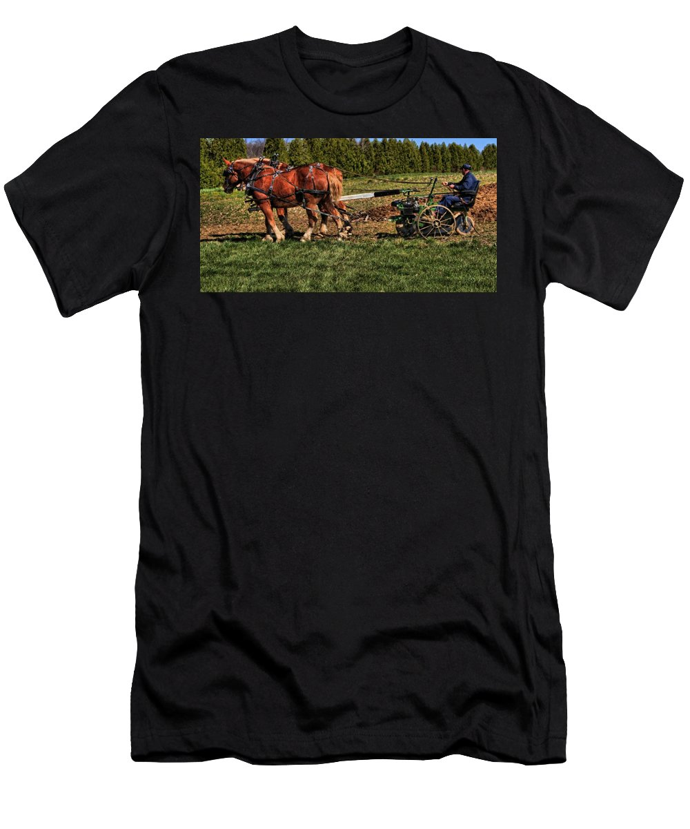 Vintage Horse Plow Men's T-Shirt (Athletic Fit) featuring the photograph Old Time Horse Plowing by Dan Sproul