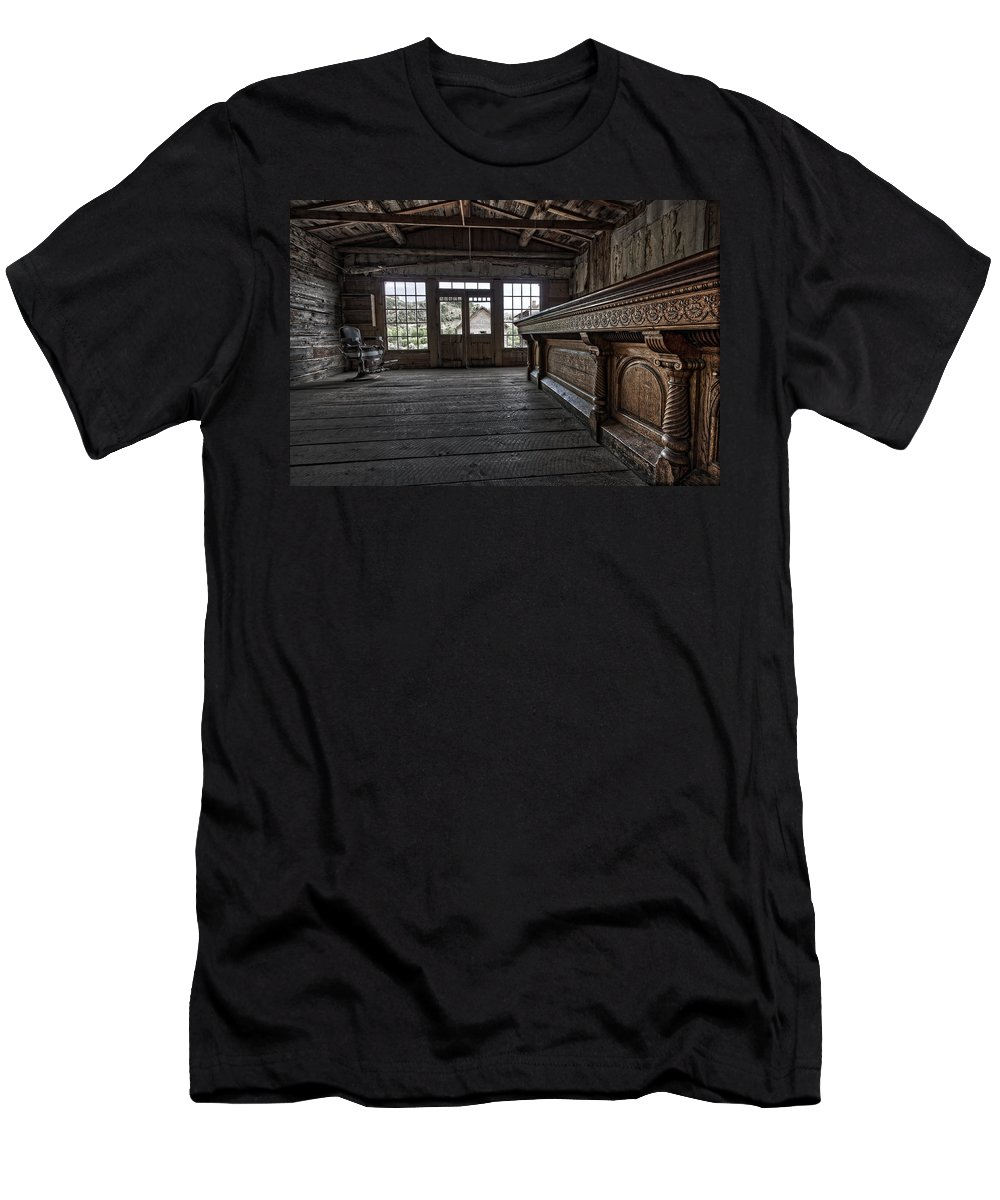 Bar Men's T-Shirt (Athletic Fit) featuring the photograph Old West Saloon Bar -- Bannack Ghost Town Montana by Daniel Hagerman
