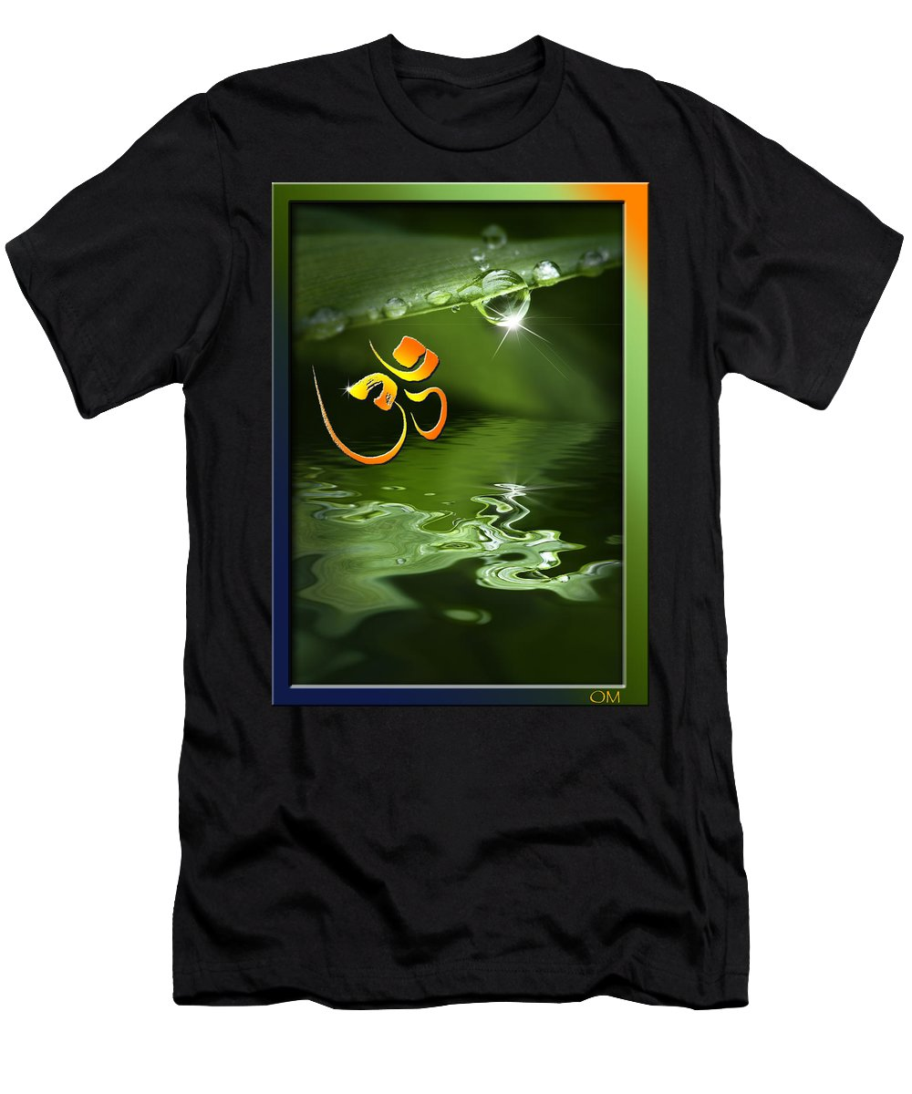 Om Men's T-Shirt (Athletic Fit) featuring the mixed media Om On Green With Dew Drop by Peter v Quenter