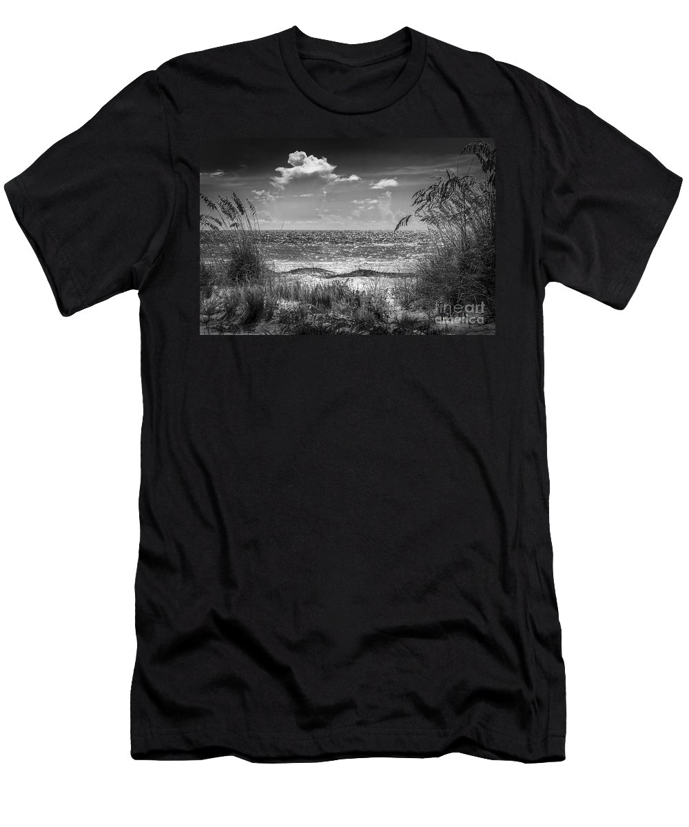 On A Clear Day T-Shirt featuring the photograph On A Clear Day-bw by Marvin Spates