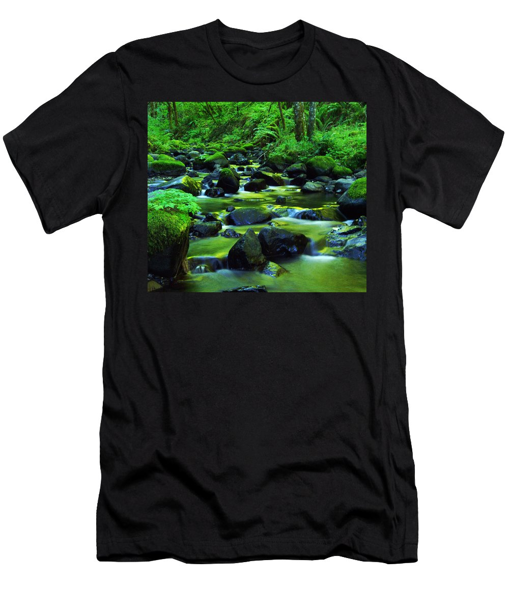 Oregon Streams Men's T-Shirt (Athletic Fit) featuring the photograph On Golden Waters by Jeff Swan