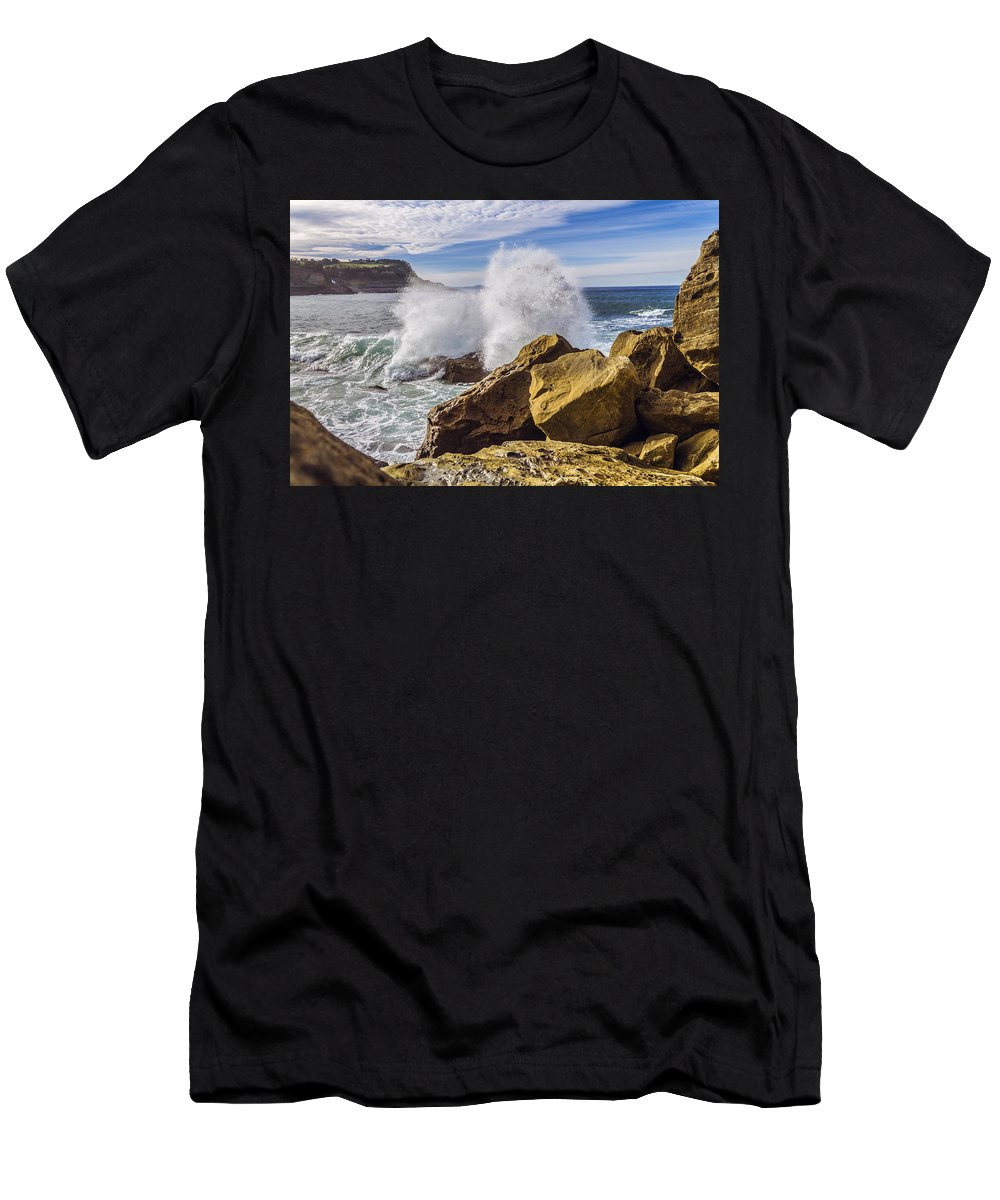 Background Men's T-Shirt (Athletic Fit) featuring the photograph on the beach in San Sebastian by Snezhana Mayorova