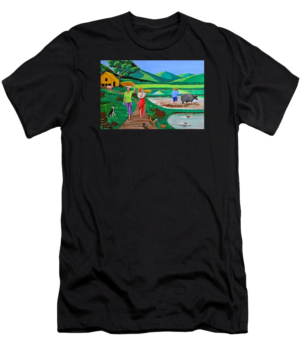 Carabao Men's T-Shirt (Athletic Fit) featuring the painting One Beautiful Morning In The Farm by Cyril Maza