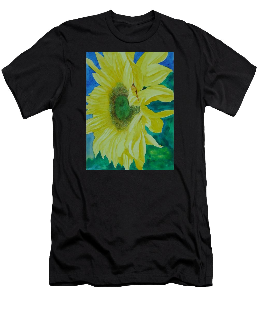 Original Sunflower Painting Men's T-Shirt (Athletic Fit) featuring the painting One Bright Sunflower Colorful Original Art Floral Flowers Artist K. Joann Russell Decor Art by K Joann Russell