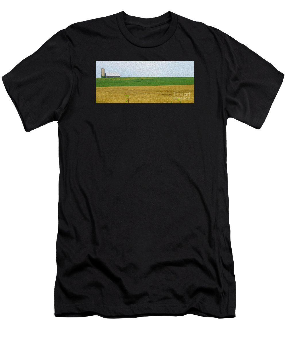 Ontario Men's T-Shirt (Athletic Fit) featuring the photograph Ontario Farm In Landscape Mode by Nina Silver