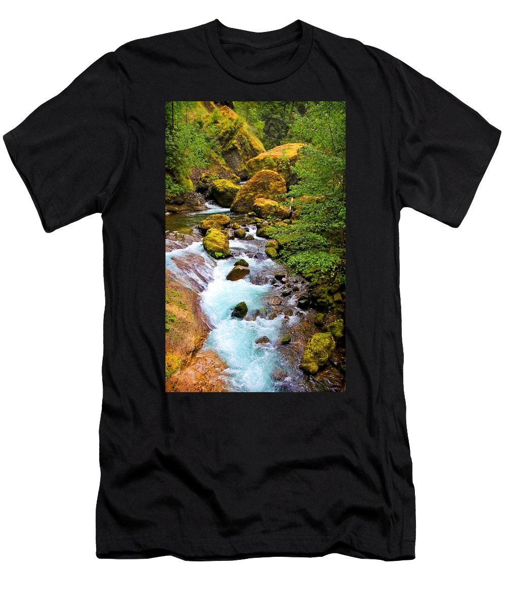 Wahclella Falls Men's T-Shirt (Athletic Fit) featuring the photograph Opal Rivers by Athena Mckinzie