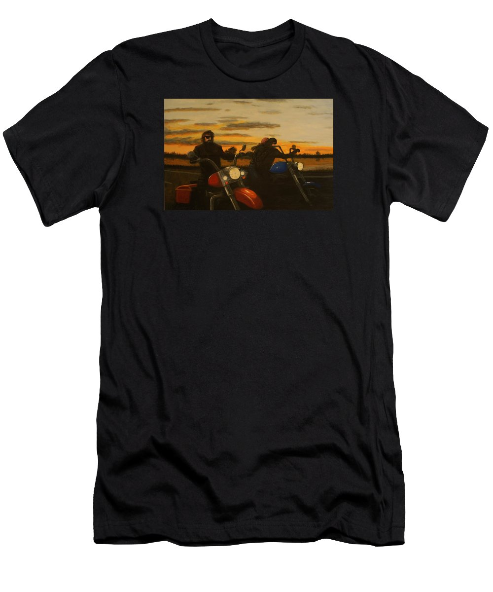Motorcycle Men's T-Shirt (Athletic Fit) featuring the painting Open Road. by Larry E Lamb