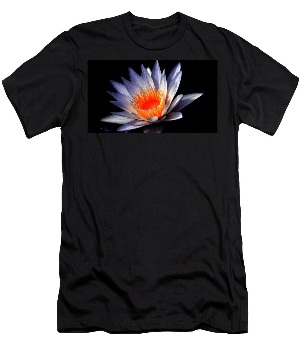 Deep Men's T-Shirt (Athletic Fit) featuring the photograph Orange And Blue Lily...  # by Rob Luzier