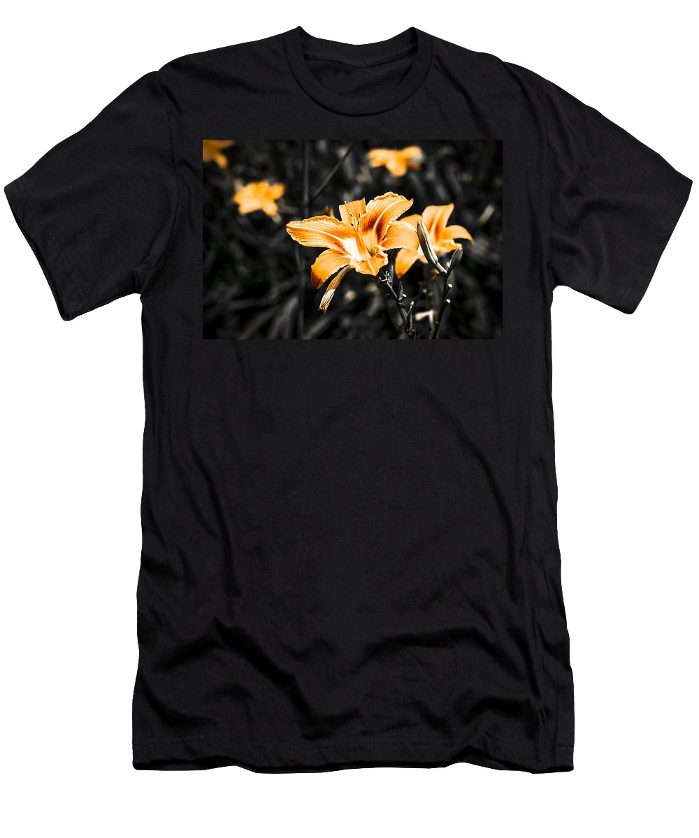 Flower Men's T-Shirt (Athletic Fit) featuring the photograph Orange Daylily Flowers On Gray 1 by Alexander Senin