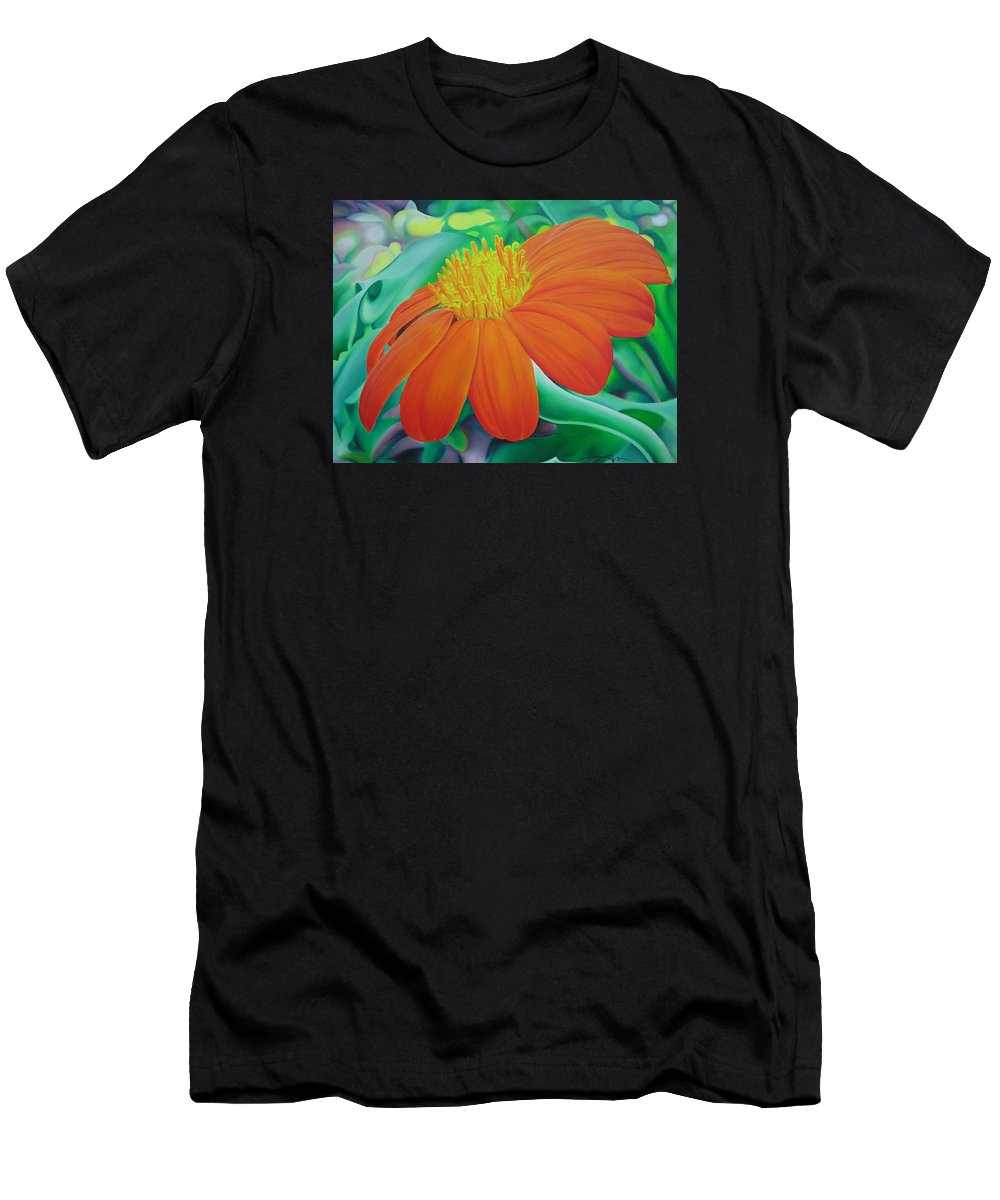 Flowers Men's T-Shirt (Athletic Fit) featuring the painting Orange Flower by Joshua Morton