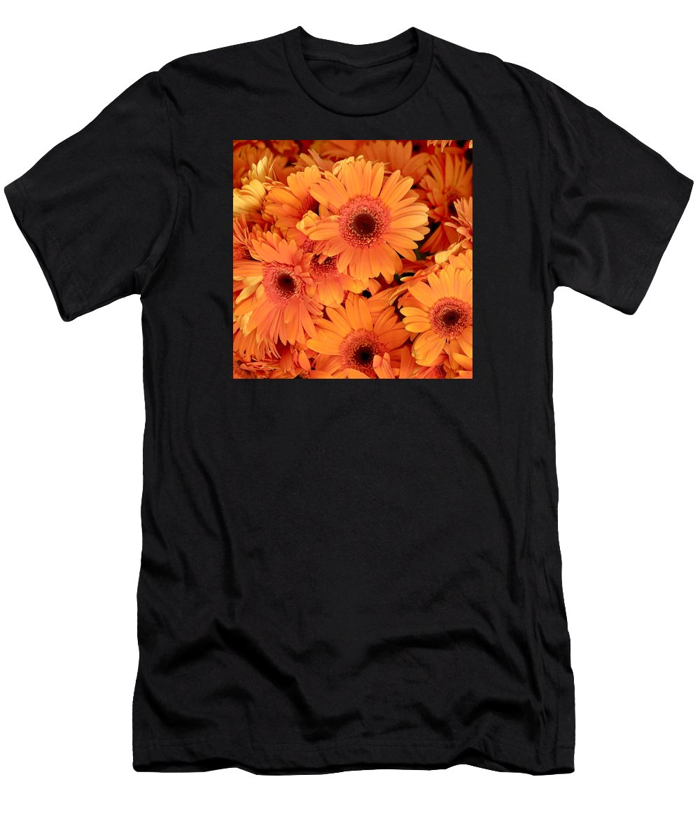 Gerbera Daisies Men's T-Shirt (Athletic Fit) featuring the photograph Orange Gerbera Daisies by Art Block Collections