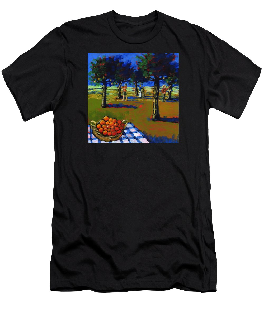Grove Men's T-Shirt (Athletic Fit) featuring the photograph Orange Picking by Paul Powis