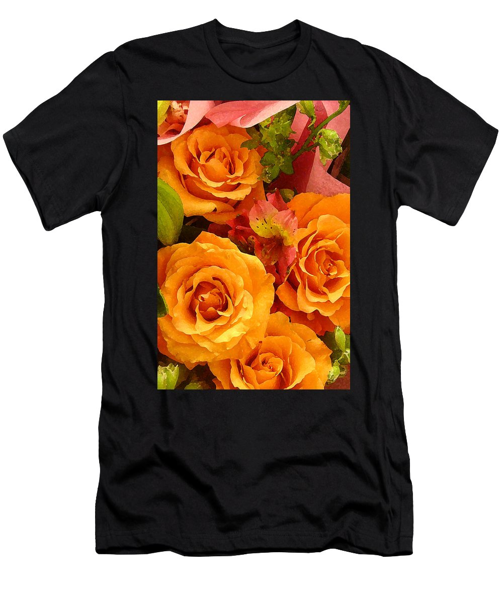 Roses Men's T-Shirt (Athletic Fit) featuring the painting Orange Roses by Amy Vangsgard