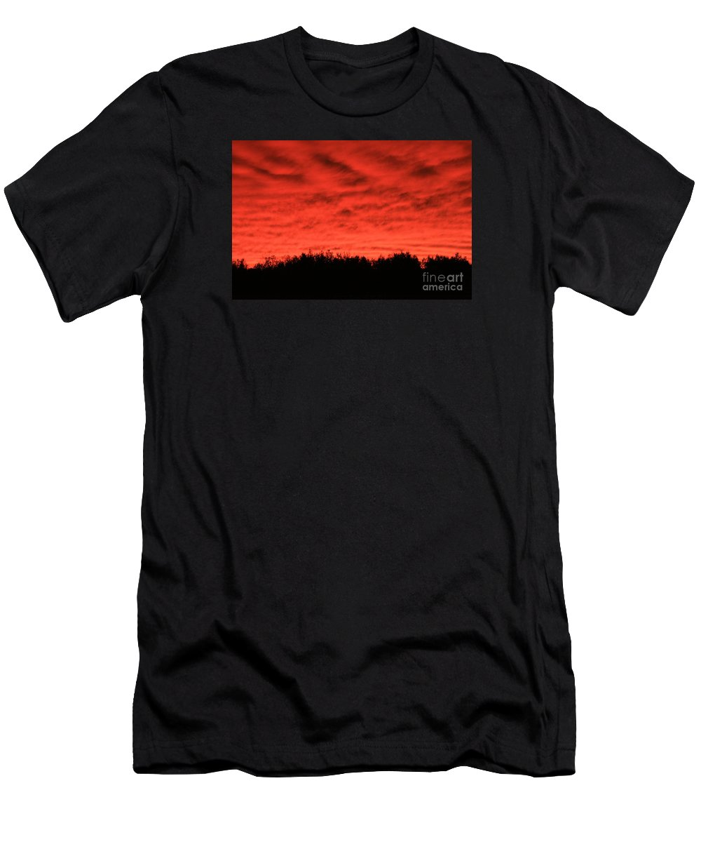 Sunset Men's T-Shirt (Athletic Fit) featuring the photograph Orange Sunset Glow by Kathy DesJardins