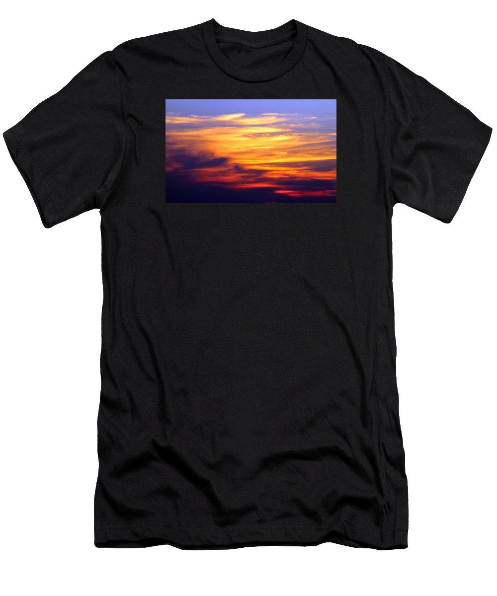 Carolina Beach Men's T-Shirt (Athletic Fit) featuring the photograph Orange Sunset Sky by Cynthia Guinn
