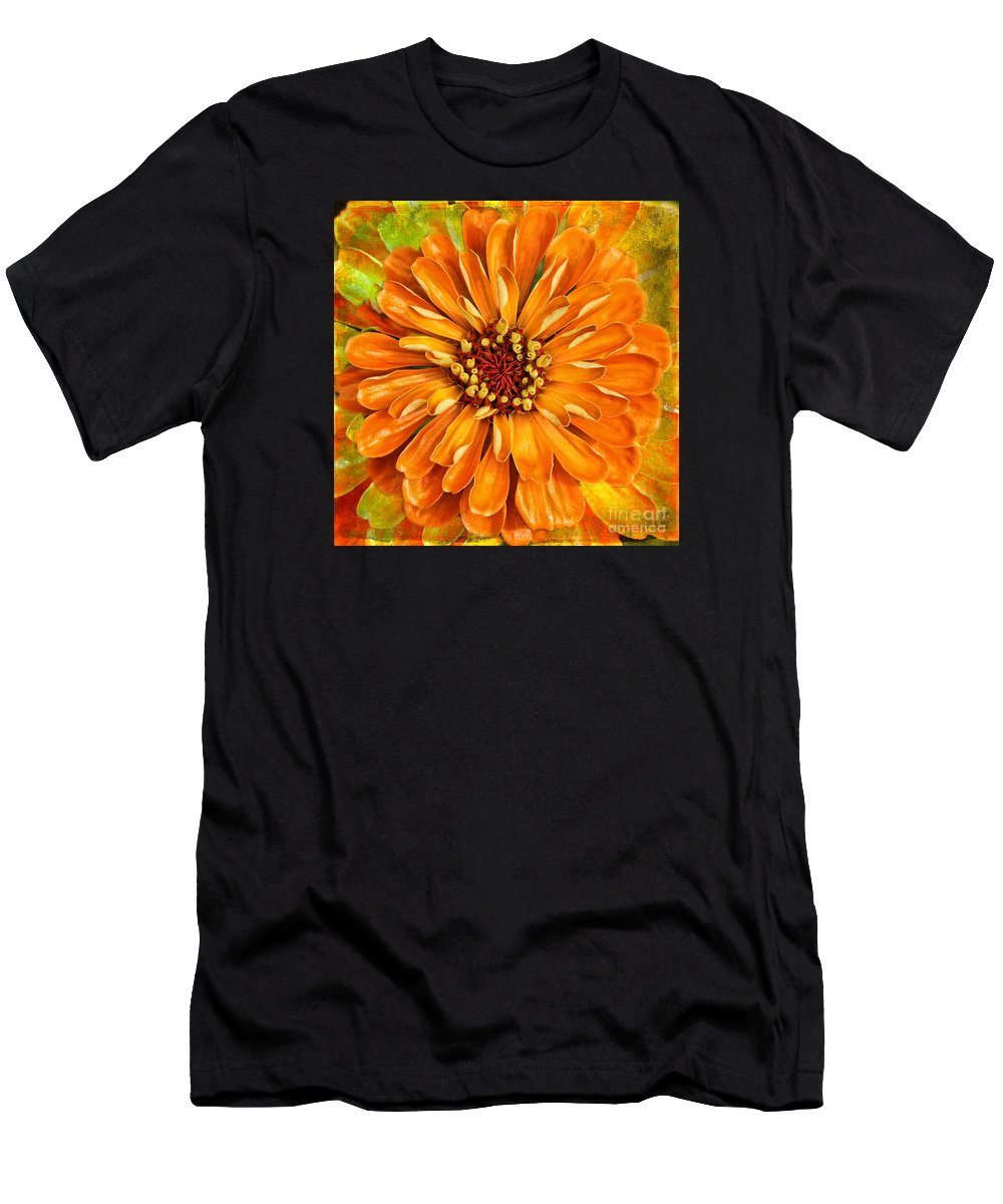 Flower Men's T-Shirt (Athletic Fit) featuring the photograph Orange Zinnia by Sari Sauls