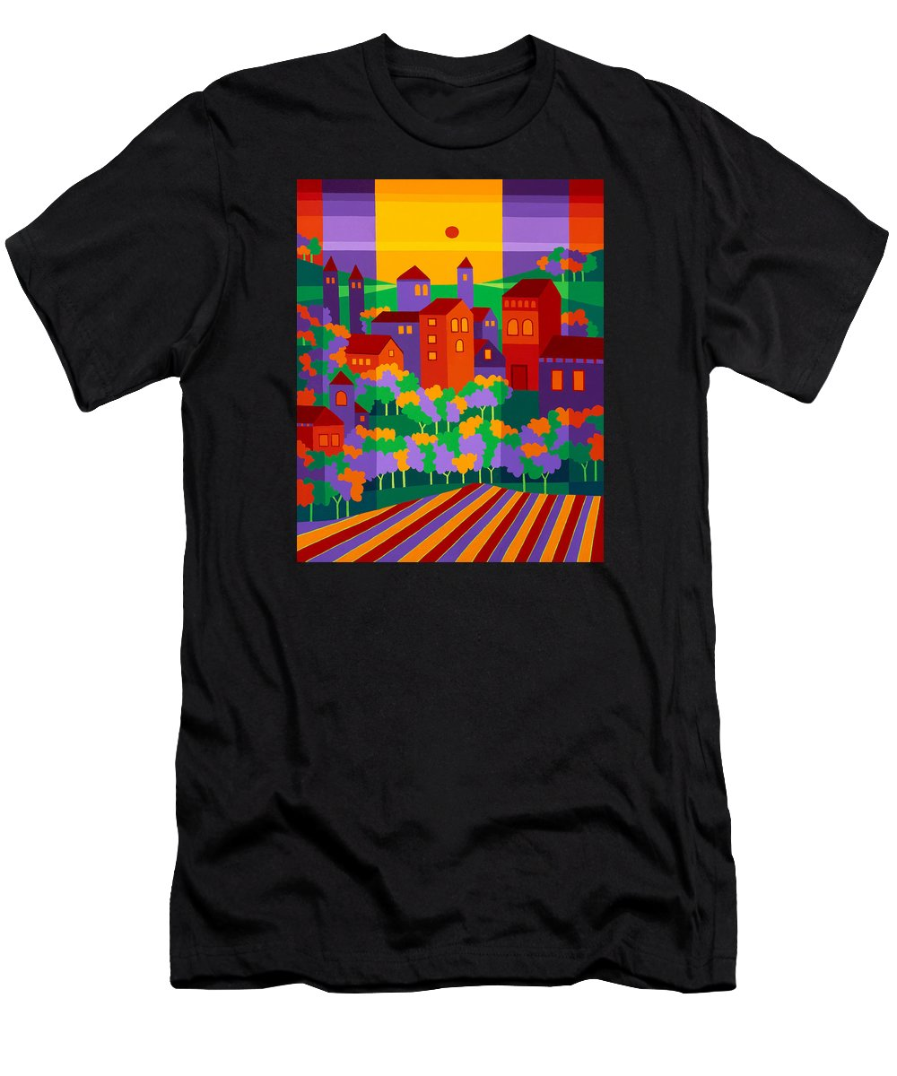 Landscape Men's T-Shirt (Athletic Fit) featuring the painting Orchard Villa by Michael Jernegan