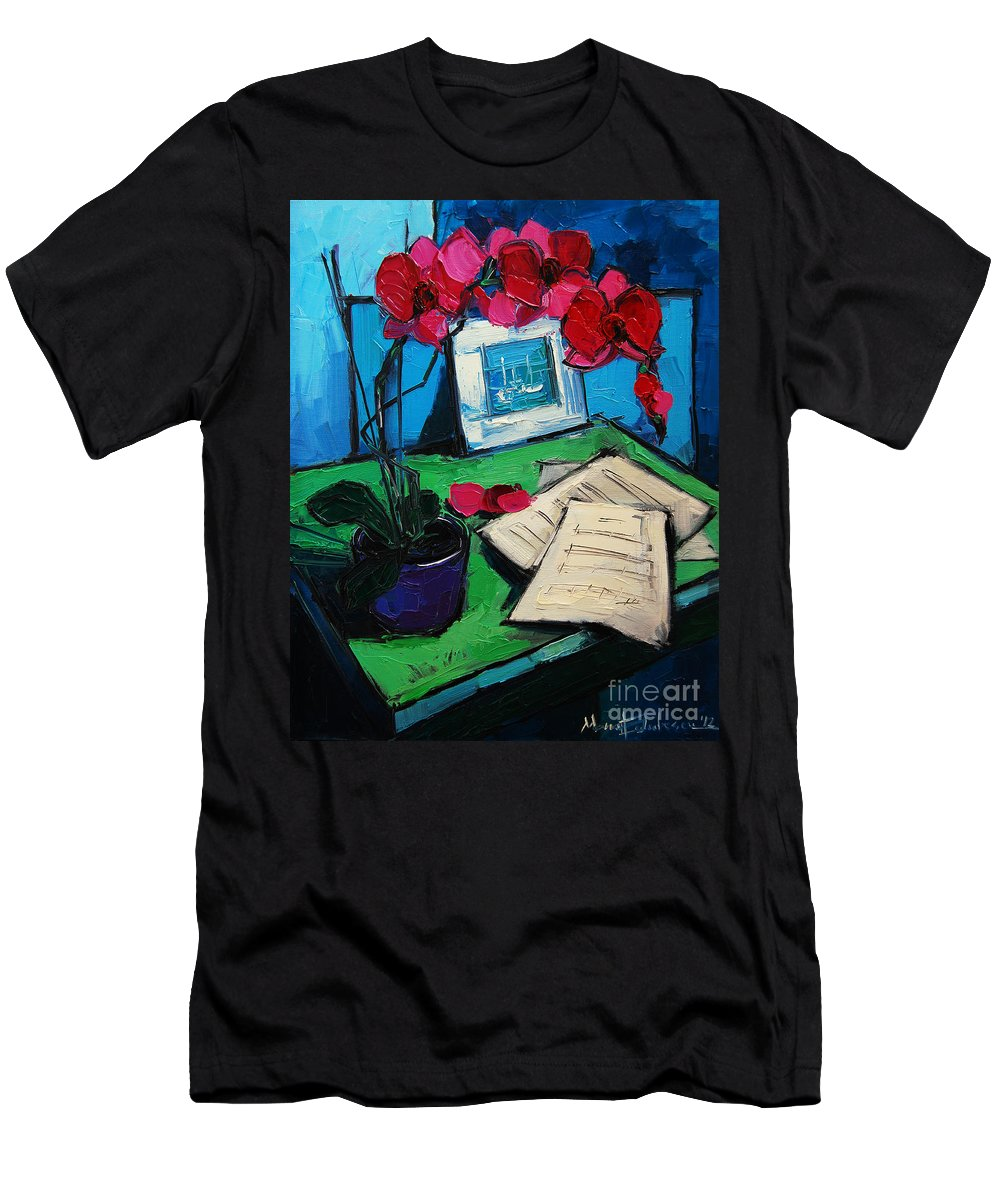 Orchid And Piano Sheets Men's T-Shirt (Athletic Fit) featuring the painting Orchid And Piano Sheets by Mona Edulesco
