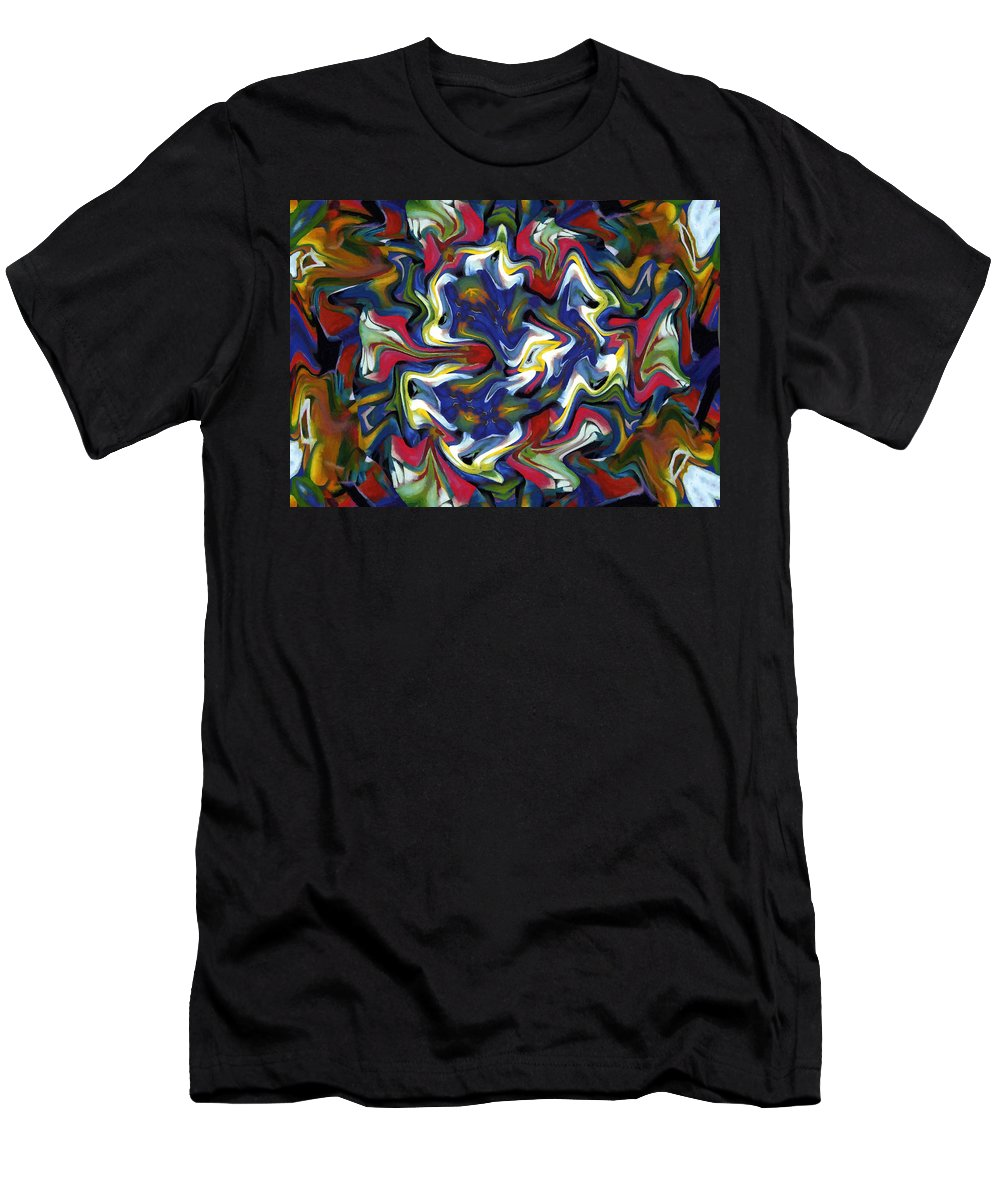 Orchid Color Colorful Expressionism Impressionism Colors Abstract Painting Men's T-Shirt (Athletic Fit) featuring the painting Orchid by Steve K