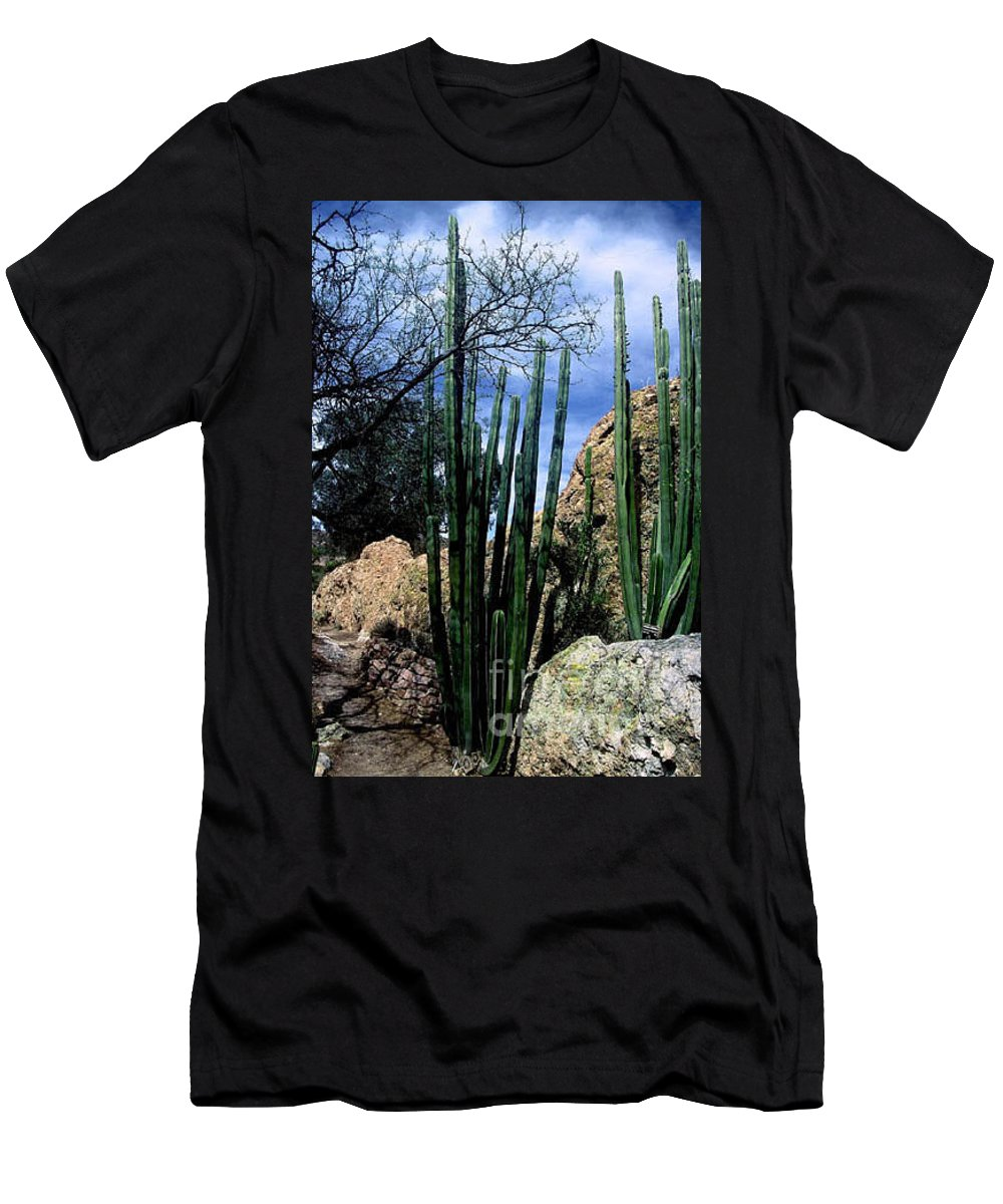 Cactus Men's T-Shirt (Athletic Fit) featuring the photograph Organ Pipe by Kathy McClure