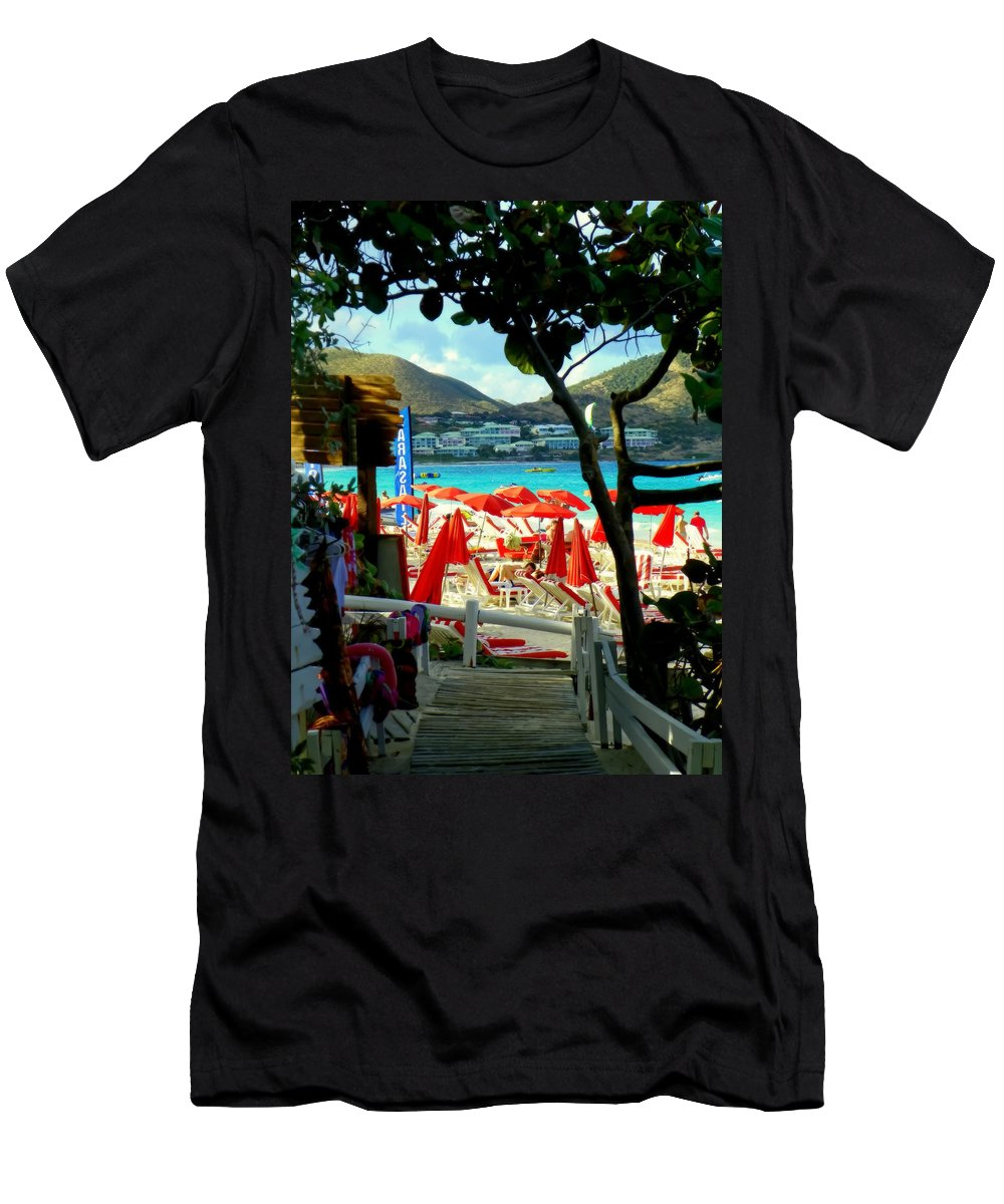 Beaches Men's T-Shirt (Athletic Fit) featuring the photograph Orient Beach Peek by Karen Wiles