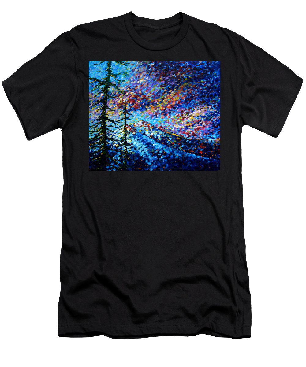 Abstract Men's T-Shirt (Athletic Fit) featuring the painting Original Abstract Impressionist Landscape Contemporary Art By Madart Mountain Glory by Megan Duncanson
