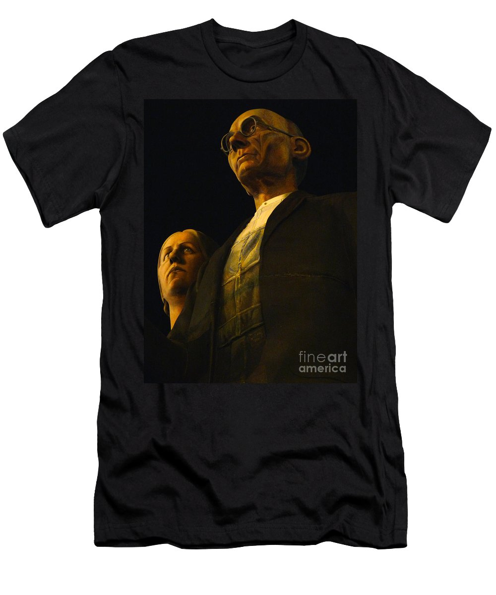 Grant Wood Men's T-Shirt (Athletic Fit) featuring the photograph Original Goth Couple by David Bearden