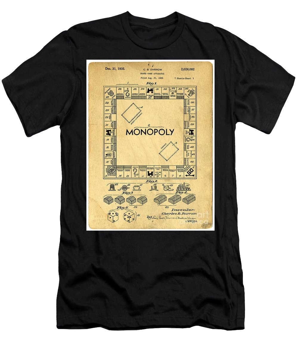 Monopoly Men's T-Shirt (Athletic Fit) featuring the digital art Original Patent For Monopoly Board Game by Edward Fielding