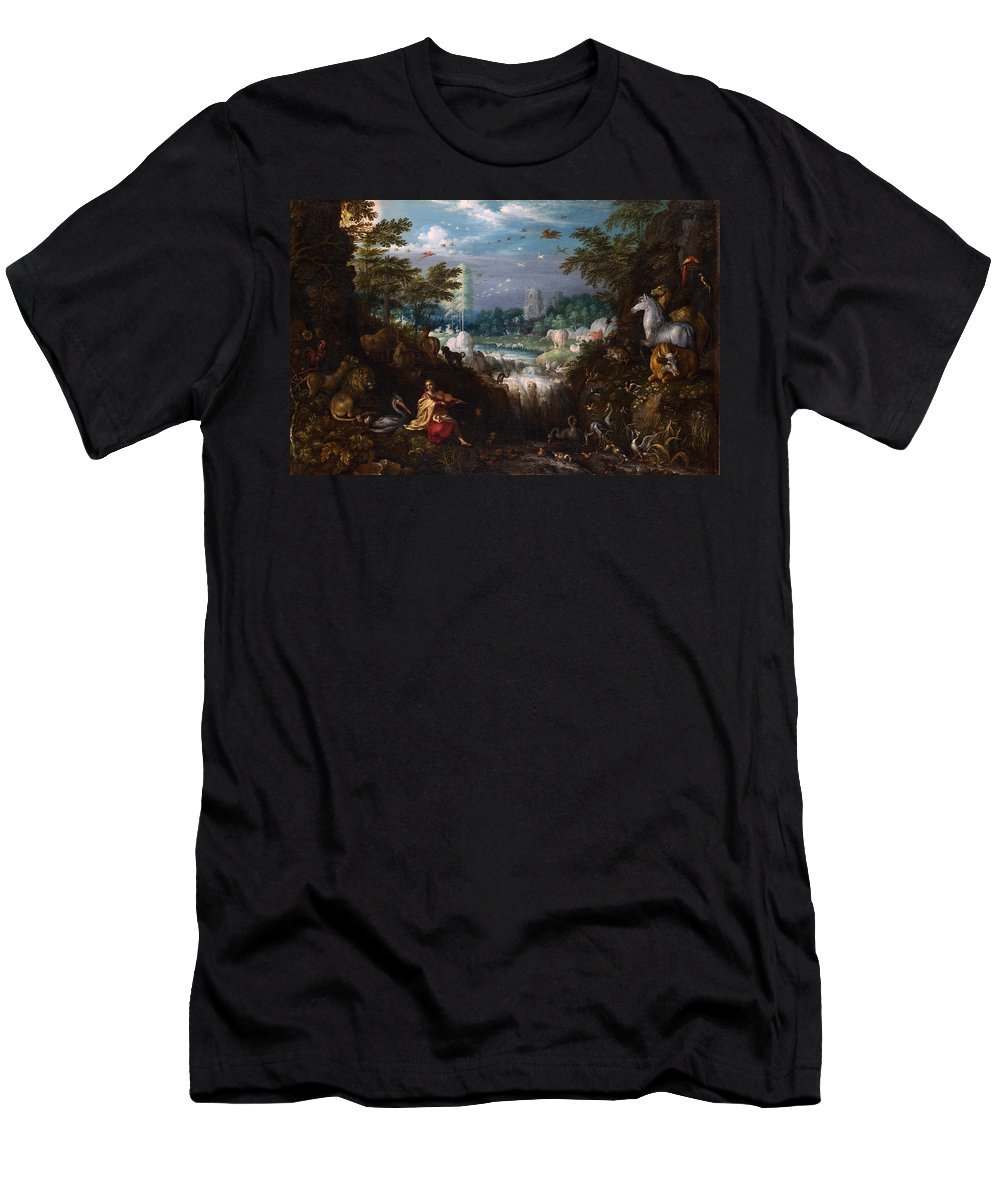 Roelant Savery Men's T-Shirt (Athletic Fit) featuring the painting Orpheus by Roelant Savery