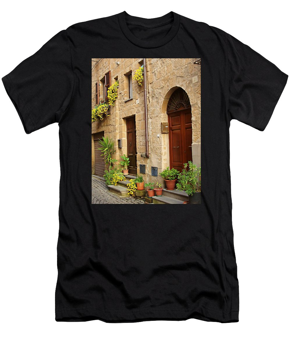 Orvieto Homes Men's T-Shirt (Athletic Fit) featuring the photograph Orvieto Homes by Ellen Henneke