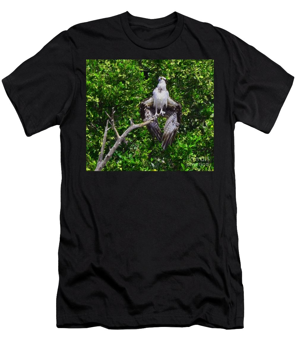 Big Birds Men's T-Shirt (Athletic Fit) featuring the photograph Osprey by Judy Wolinsky