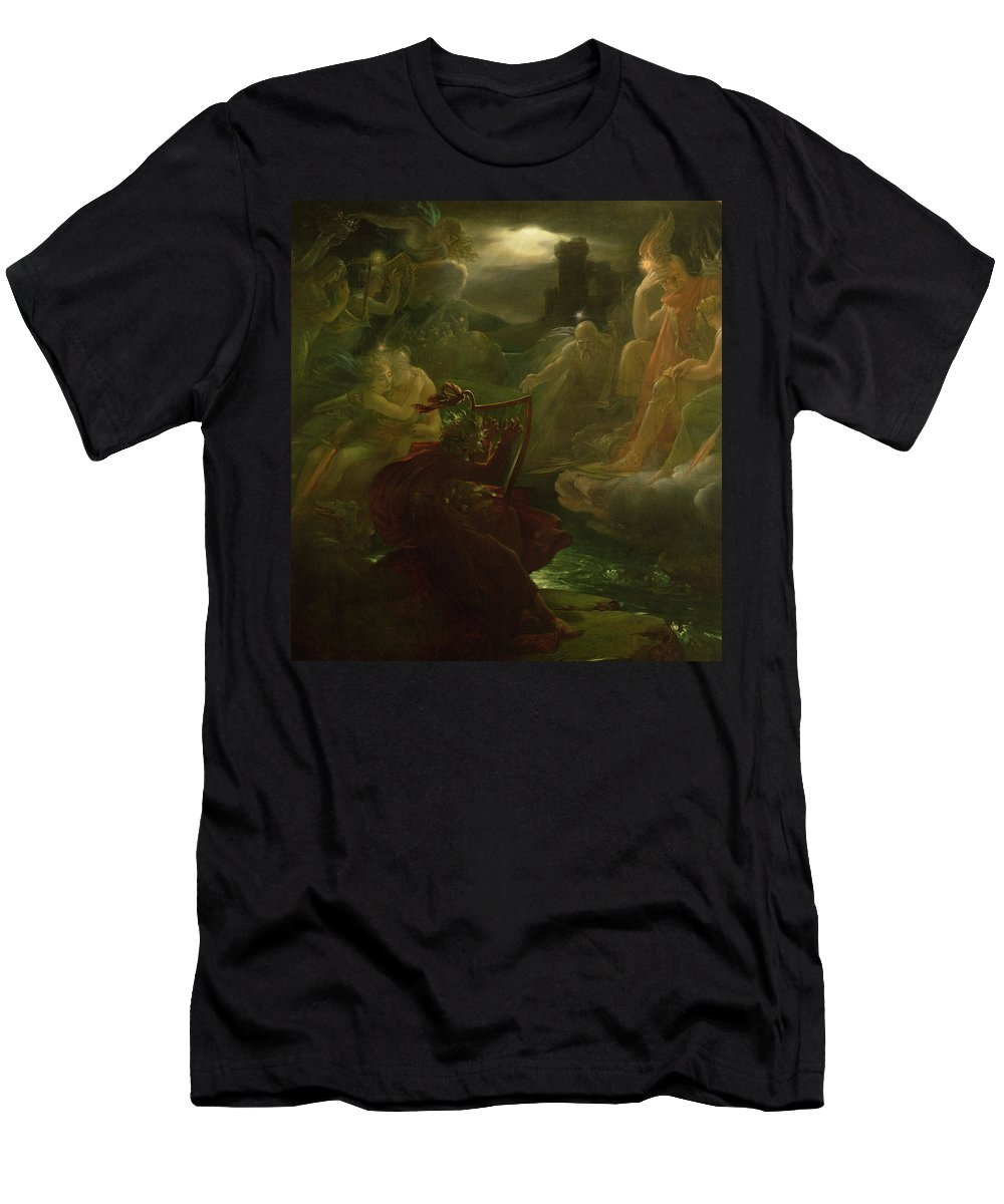Ossian Conjuring Up The Spirits On The Banks Of The River Lora With The Sound Of His Harp Men's T-Shirt (Athletic Fit) featuring the painting Ossian Conjuring Up The Spirits by Francois Pascal Simon Gerard